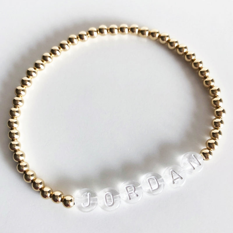 Gold Custom 4mm name bracelet clear letters