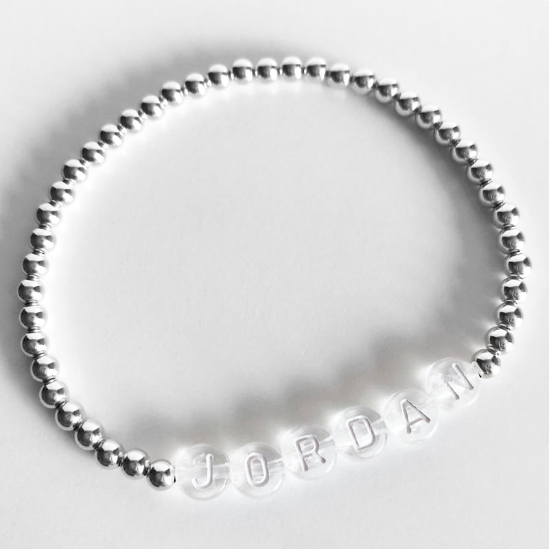 Sterling silver Custom 4mm name bracelet clear letters
