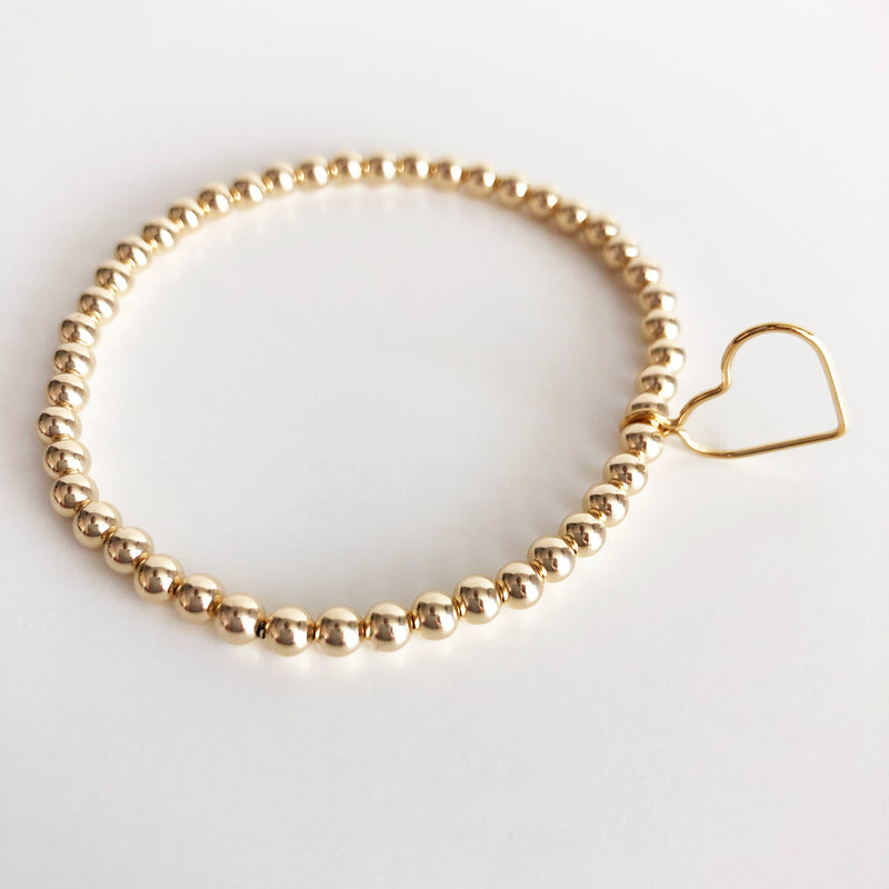 14k gold-filled 4mm beaded bracelet with open heart charm