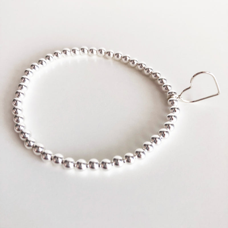 Sterling Silver 4mm beaded bracelet with open heart charm
