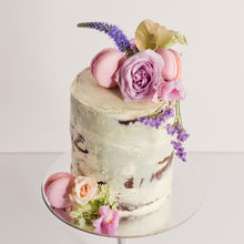 Load image into Gallery viewer, Semi-naked cake decorated with fresh flowers and macarons, birthday cakes, Brisbane cakes, Brisbane cakes, cakes home delivered, cakes home-delivered, Brisbane home delivered cakes, Brisbane home-delivered cupcakes, Veruccas Cakes, Veruccas Cake, Verucca Cake, Verucca Cakes, Verucas Cakes, Verucas Cake, Veruca Cakes Veruca Cake, Verrucas Cakes, Verrucas Cake,