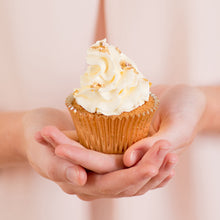 Load image into Gallery viewer, white cupcakes, decorated cupcakes, gold leaf cupcakes, cakes home delivered, cakes home-delivered Brisbane home delivered cakes, Brisbane home delivered cupcakes, cup cakes, cupcakes, Brisbane cup cakes, Brisbane cupcakes, birthday party cupcakes, birthday cupcakes, Brisbane birthday cupcakes, birthday cupcakes for women, birthday cakes for women,