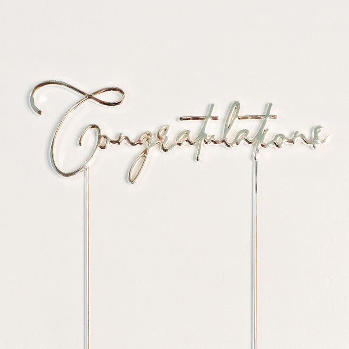 Finish your cake and make it yours with Congratulations cake toppers - in silver. When it's time to say well done. birthday cakes Brisbane, cakes Brisbane cake shops Brisbane, cupcakes Brisbane, cake shop Brisbane, Cute Cakes & Co, Cute Cakes and Co
