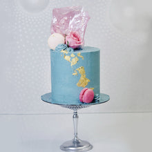 Load image into Gallery viewer, Bold and fun birthday or celebration cake! Full buttercream icing, a pop of colour, a touch of gorgeous 23k gold leaf and topped off with a pink sugar sail. Incredible. And it tastes just as good too!