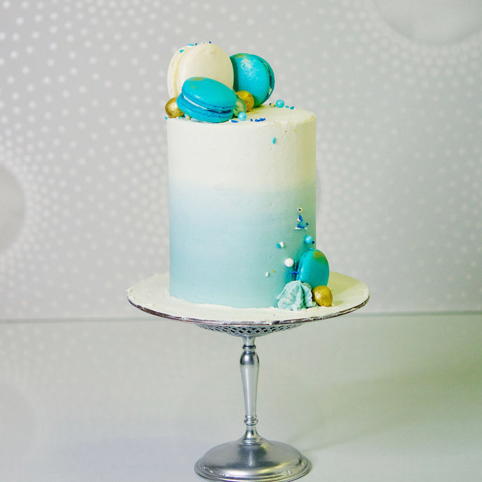 Stunning decorated cake with ombre buttercream and matching macarons. Delicious! Cakes Brisbane Verucca's Cakes
