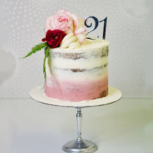 Load image into Gallery viewer, Modern and stylish cakes! An ombre semi naked cake finished with an elegant and understated flower arrangement. Brisbane cake decorator - best in town.