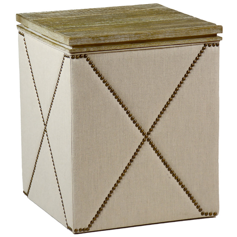 Linen Side Table w/ Wood Top