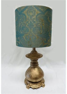 Mini Gold Lamp with Damask Shade