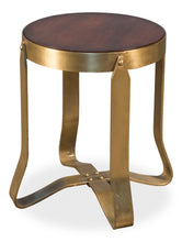 Load image into Gallery viewer, Round Wood & Gold Table