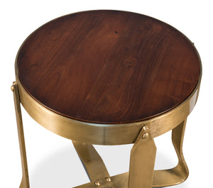 Round Wood & Gold Table