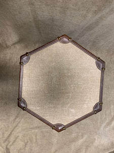 Hexagonal Leather Stool