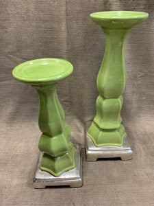 Pair of Green Candleholders