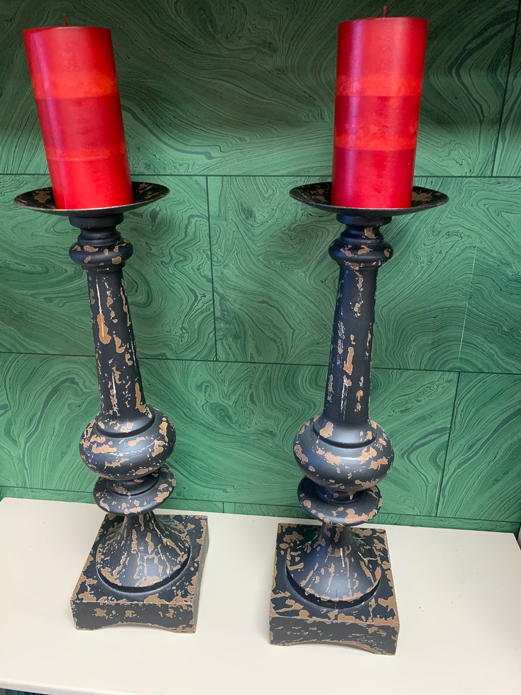 Pair of Aged Wood/Iron Candlesticks