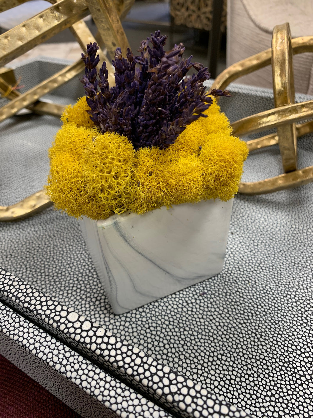 Lavendar and Yellow Moss in Vase