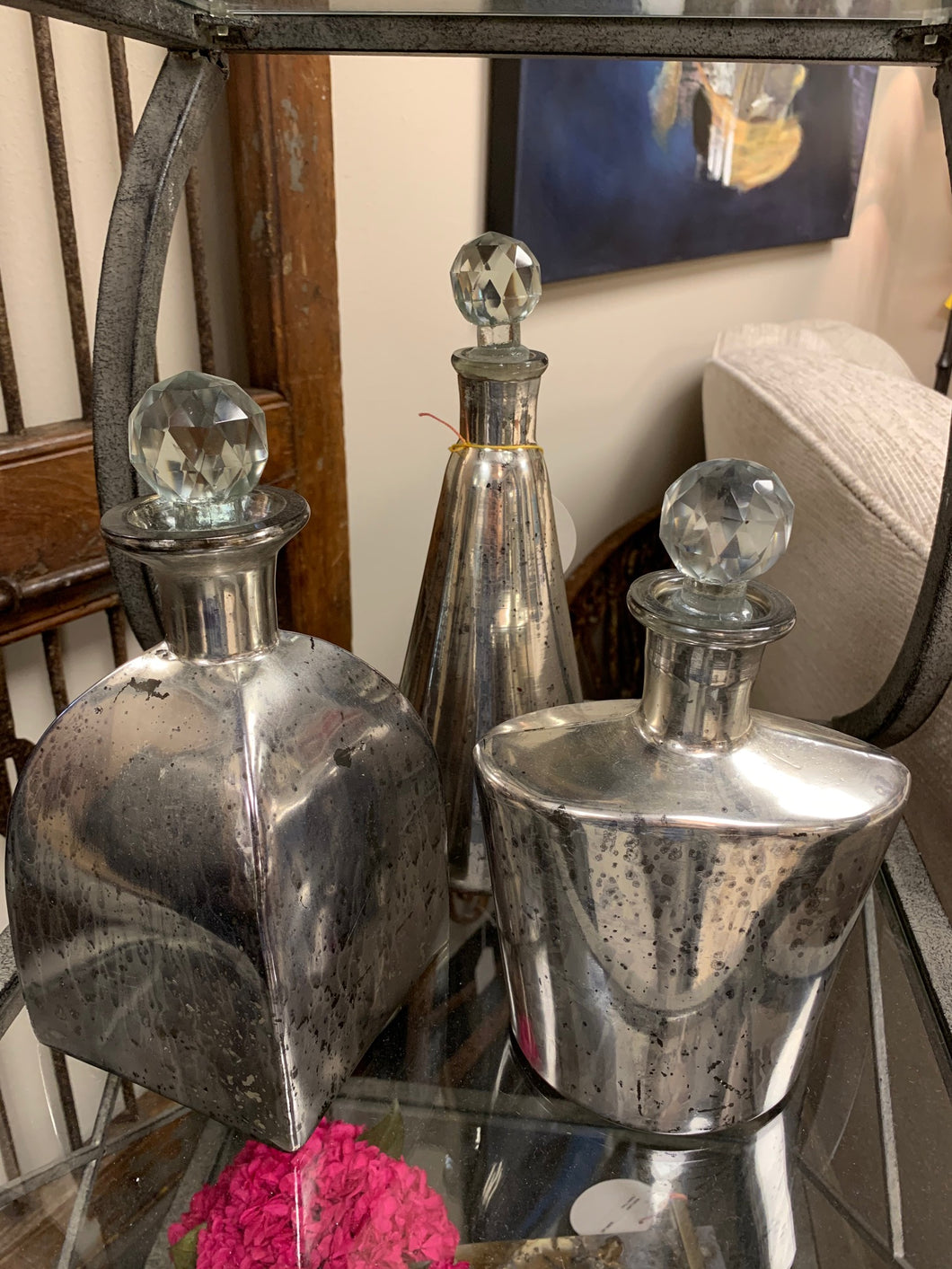 Silver Mercury Glass Bottles S/3