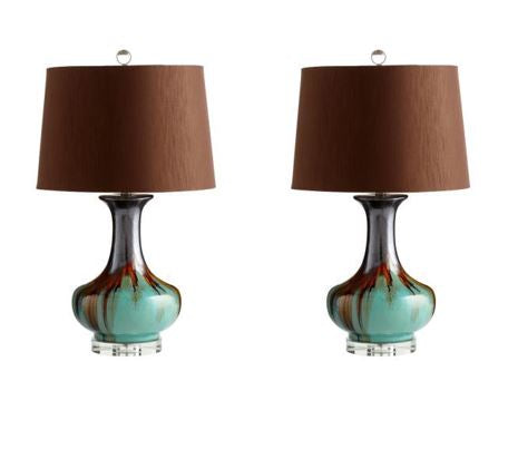 Turquoise/Brown Table Lamp