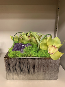 Orchid in Box with Amethyst