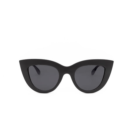 Kim Black Cat Eye Sunglasses. Cat-Eye shaped sunglasses with a black matte frame.