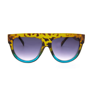 Bey Leopard Print Flat Bar Sunglasses. Oversize, flat bar sunglasses with a tortoiseshell frame.