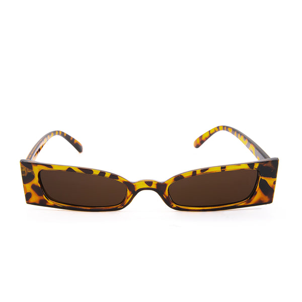 Kourtney Leopard Print Slim Sunglasses. Square shaped, micro-lens sunglasses with a tortoiseshell frame.
