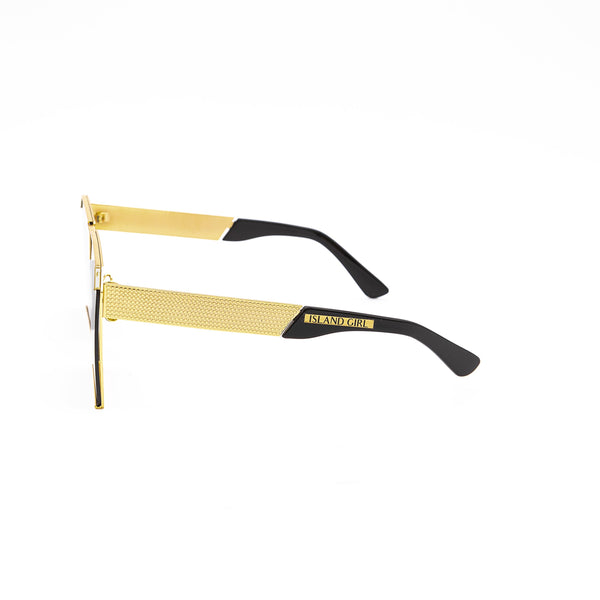 Jennifer Gold Square Sunglasses. Square lenses over a flat gold shield frame.