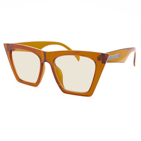 Daphna Orange Square Sunglasses. Square sunglasses with an orange transparent frame and glasses.