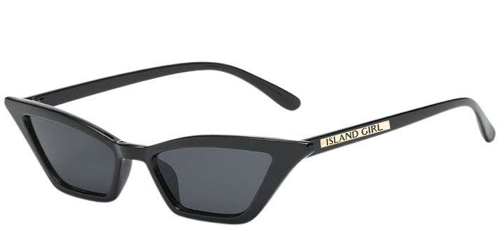 Amy Black Cat Eye Sunglasses. Cat-Eye shaped, micro-lens sunglasses with a black frame.
