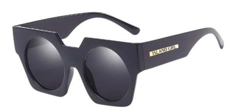 Andy Black Oversize Sunglasses. Oversized sunglasses in a trapezoid shape with a black, thick frame.