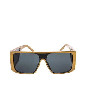 Carolina Gold Oversize Flat Frame Sunglasses. Oversized sunglasses with a gold flat frame and bold arms.