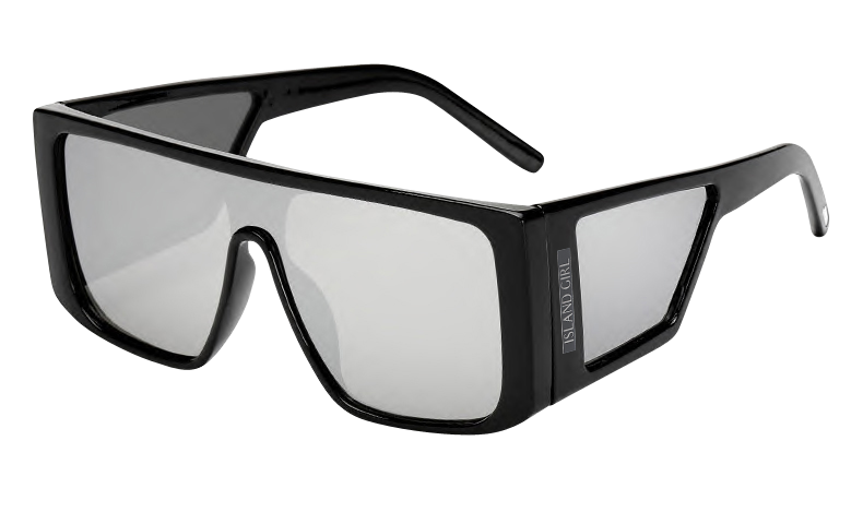 Carolina Silver Oversize Mirrored Sunglasses. Carolina Silver are mirrored sunglasses with a black flat frame and bold arms.
