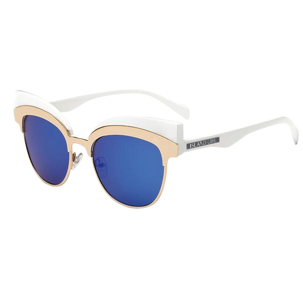Gerda White Sunglasses with Blue Mirrored Lens. White funky sunglasses with blue iridescent lens and gold details.