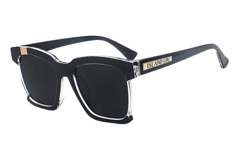 Hailey Black Square Sunglasses. Black, square sunglasses with open frame on the sides.