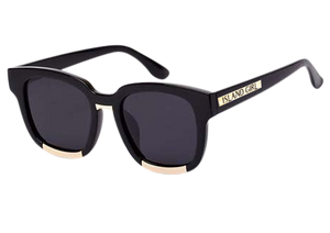 Hipster Black Square Sunglasses. Wayfarer inspired black sunglasses with gold details.
