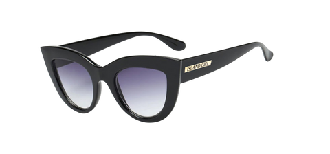 Kim Black Glossy Cat Eye Sunglasses. Cat-Eye shaped sunglasses with a black glossy frame.