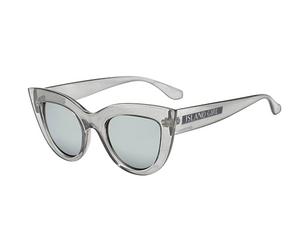 Kim Grey Cat Eye Sunglasses. Cat-Eye shaped sunglasses with a grey transparent frame.