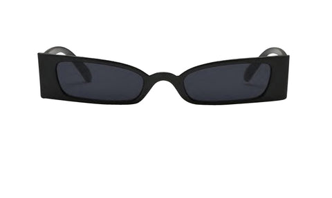 Kourtney Black Slim Sunglasses. Square shaped, micro-lens sunglasses with a black frame.