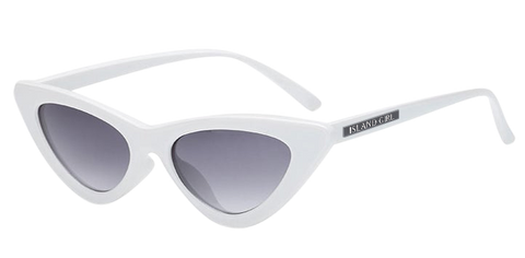 Marilyn White Cat Eye Sunglasses. Marilyn Monroe inspired white cat-eye shaped sunglasses.