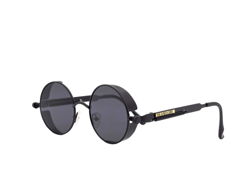 Migos Femme Black Round Sunglasses. Round detailed black sunglasses with black rim detail and spiral spring on the sides.