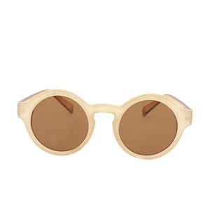 Nanette Nude Round Sunglasses. Round nude color sunglasses.