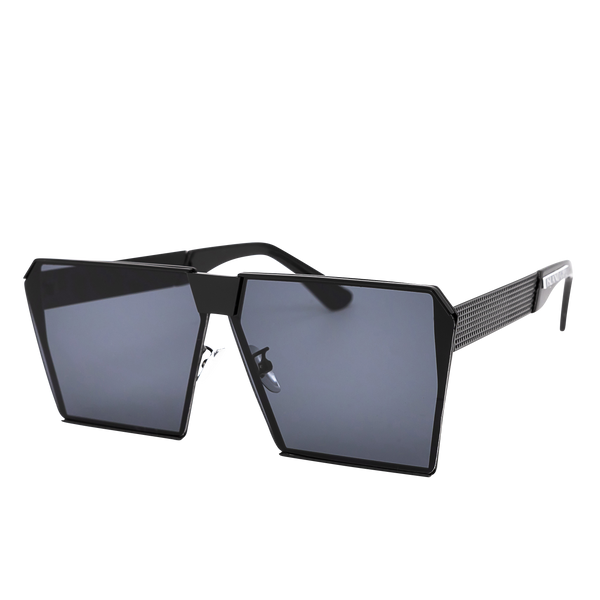 Jennifer Black Square Sunglasses. Square lenses over a flat black shield frame.
