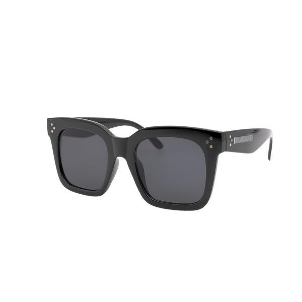 Kimberly Black Oversize Sunglasses. Wayfarer inspired oversize black sunglasses.