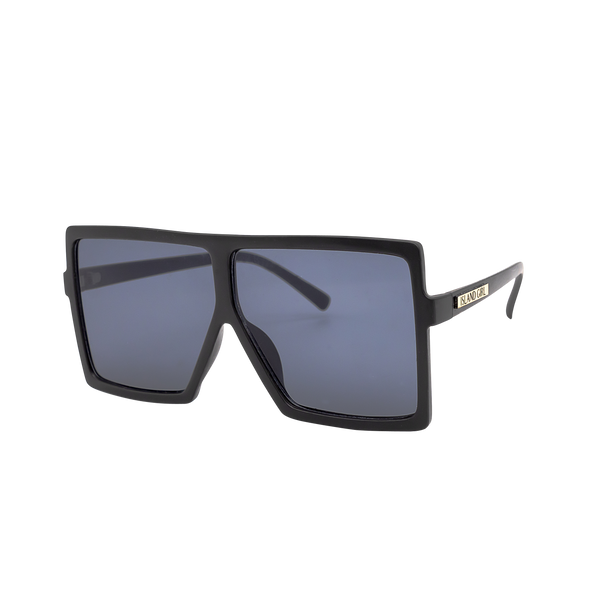 Kris Black Oversize Square Sunglasses. Black oversized square sunglasses with a black lens.
