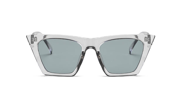 Daphna Grey Square Sunglasses. Square sunglasses with a grey transparent frame and glasses.