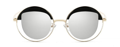 Johanna Lennon Round Mirrored Sunglasses. Oversized round sunglasses with mirrored glasses.