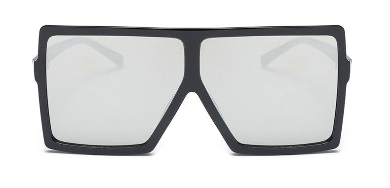 Kris Mirrored Oversize Square Sunglasses. Mirrored square sunglasses a with a black frame.