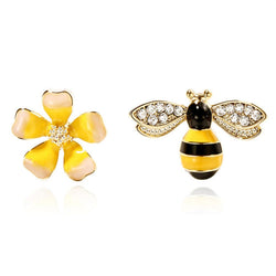 Three Style Inlaid Crystal Rhinestone Bee Stud Ear Rings For Women