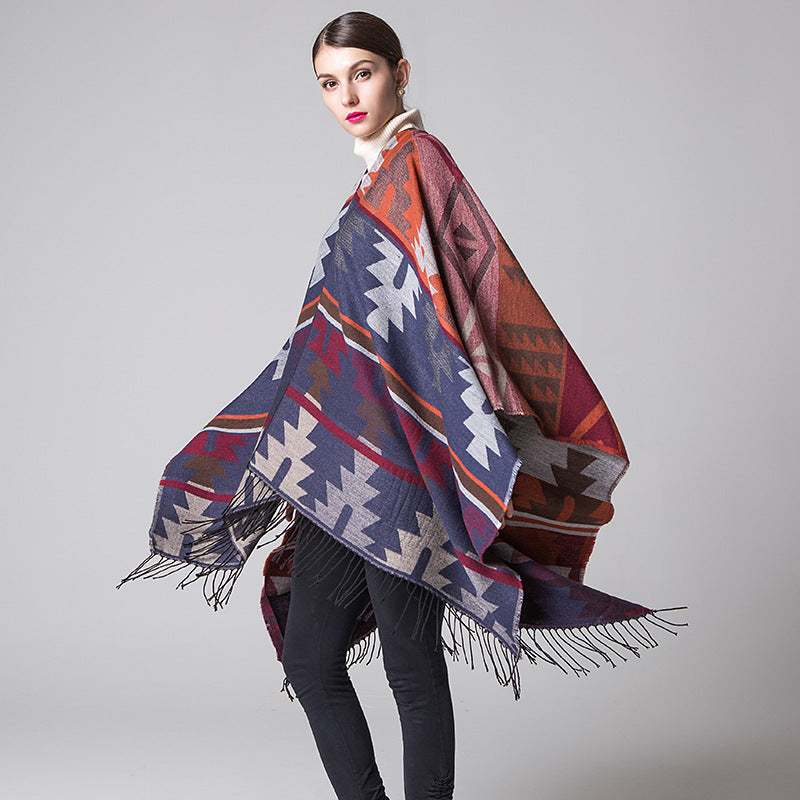 Long Diamond Style Cashmere Travel Split Shawl