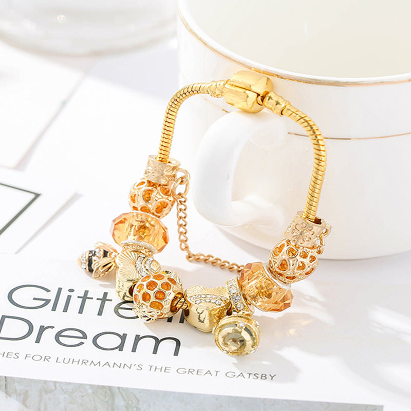European and American fashion alloy gold-plated DIY hardworking bee ladies bracelet jewelry