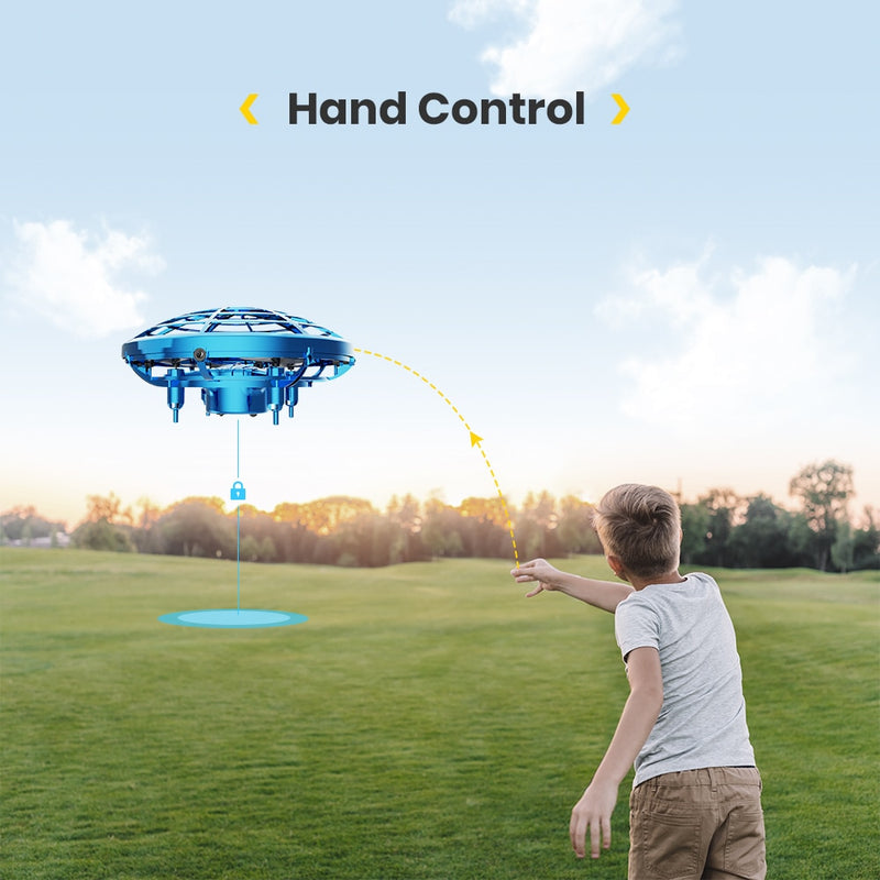 Kids Mini UFO Quadcopter 360° Hand-Controlled Drone Anti-collision Flying Aircraft