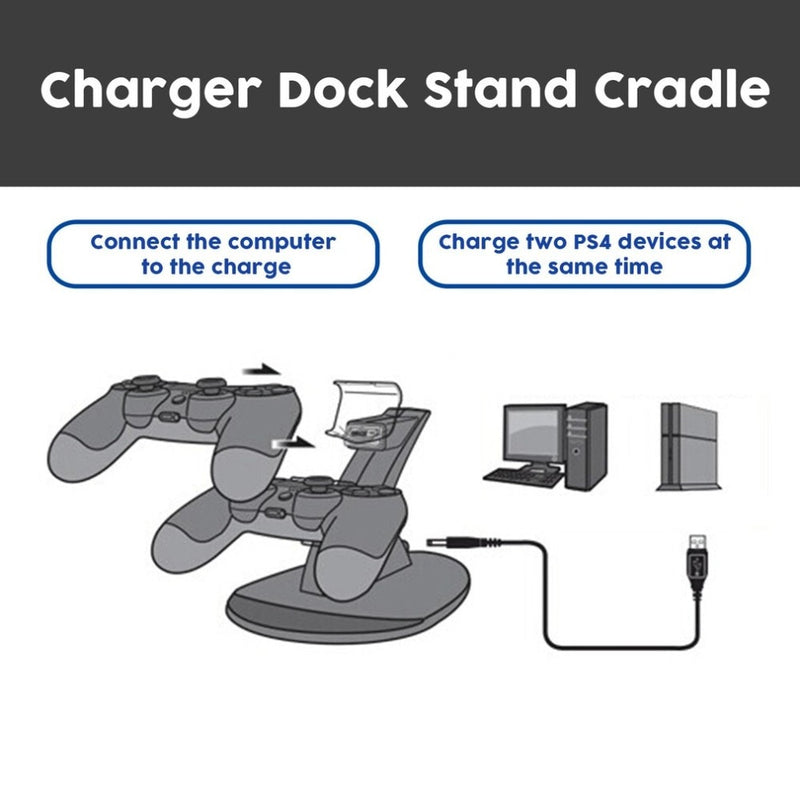 NEW LED Dual USB Charging Charger Dock Stand Cradle Docking Station for Sony Playstation 4 PS4 Game Gaming Console Controller